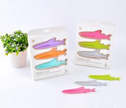 Wholesale Clips For Bags Food - Food Bag Clip Shark Shaped Clips for Toothpaste Cleanser Keep Food Fresh Fish Shaped Clamps Home Kitchen Bathroom Tools