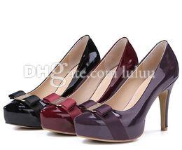 Wholesale Designer High Heel Women Shoe - Fashion Women Brand Designer stiletto High Heel Quality Party Wedding Pumps Designer Genuine Leather Bowtie Shallow Mouth Heels Women Shoes