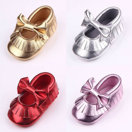 Wholesale First Month - New Arrival Baby Girl Dress Shoes Butterfly-knot Tassel Design Full Leather Slip-on First Walker Shoes Anti-slip Soft Sole 0-12 Months
