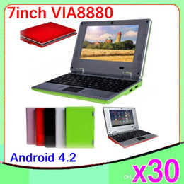 Wholesale Mini Laptop Netbook Dhl - DHL 30PCS Wholesale original 7inch Mini Netbook WIFI android 4.2 Laptop 512mb 4GB flash VIA8880 1.5Ghz notebook ZY-BJ-1