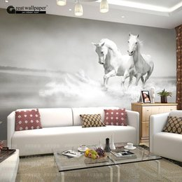 Wholesale  Custom Any Size 3D Wall Mural Wallpaper, White Horse Wall Murals  Wallpaper,3d Horse Custom Wall Paper Murals For Living Room From  Dropshipping ... Part 88