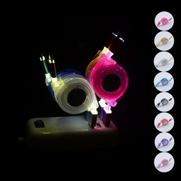 Wholesale I5 C - New LED light Lighting USB Cables 1M Micro USB Date Cable Type C for Samusng HTC i5 i6 i7 smartPhone LED Luminous retractable charger cable