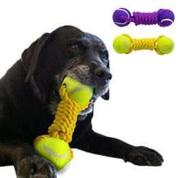 Wholesale dog ball rope toys - Dog Ball Rope Tug Toy Tennis Dogs Playing Training Toys For Pet Chewing For Medium Large Dogs Yellow Purple Colors