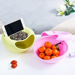 dischi di plastica rotonda Sconti Vassoio di plastica portatile doppio disco rotondo di frutta semi di melone caramelle articoli vari scatola di immagazzinaggio supporto del telefono multi funzione 4 colori 3 3 F F R