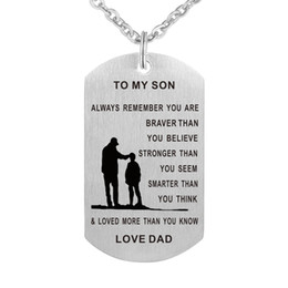 Wholesale Dog Customs - 55cm Dad Mom To Son Dog Tag Necklace Stainless Steel Military Mens Jewelry Personalized Custom Dogtags Pendant Love Gift