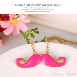 Wholesale Beard Sweater - 2016 New Women's Fashion Lovely Sweater Chain Necklace Concave Shape Beard Mustache For Girls Free Shipping