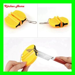 Wholesale Kitchen Sharpening - Mini Portable Ceramic Carbide Knife Sharpener Kitchen Blade 2 Stages Pocket Knives Sharpening Tool with Rope Kitchen Home Sharpener