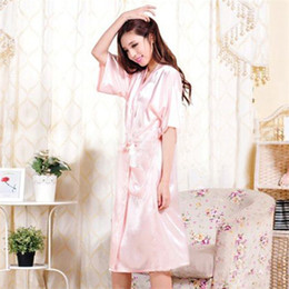 Wholesale Hot Women Nightdress - Wholesale-Sexy Summer Satin Hot Robe Nightdress Women Robe 2016 New Sale Kimono Silk Sexy Satin 2016 Robe High Quality Night