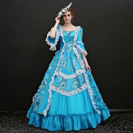 Wholesale Century Length - Brand New 2017 Blue Square Neck White Lace European court Performance dress 18th Century Marin Antoinette Princess Long Dress Ball Gown