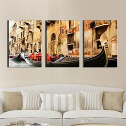 kunst ölgemälde venedig Rabatt 3 Panel Wandkunst Malerei auf Leinwand Ölgemälde Berühmte Malerei Sammlung Für Wohnzimmer Venedig Landschaft Bild Home Dekorationen