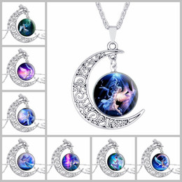 Wholesale Statement Pieces Wholesale - 24 pieces lot Collares Fashion women jewelry New Moon Time Gemstone Necklace Hot Angel Glass Pendant statement necklace women choker