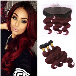 Wholesale Burgundy Hair 99j - Body Wave Ombre 99j Hair Bundles With Lace Frontal Two Tone 1b 99j Burgundy Lace Frontal With Body Wave Human Hair Weave