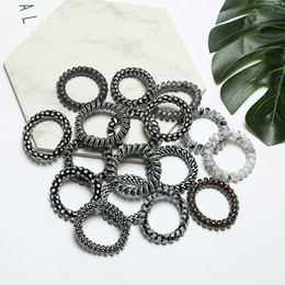 Wholesale Black Spring Hair Bands - hairband hair bands rope elastic telephone wire spring design for Women girl Hair Accessories headwear holder black white