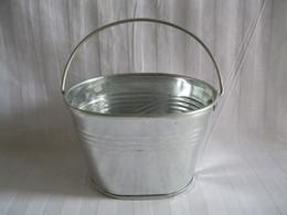 Wholesale Wholesale Tin Buckets Pails - Free shipping Metal Planter pot Series tin Pail Iron pots flower pot Bucket Galvanized Planter Oval Sharp