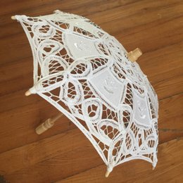 Wholesale Lace Parasols Small - Bridal Wedding Parasol Handmade Lace small craft umbrella Diameter:38cm Cotton Lace wedding favor decoration