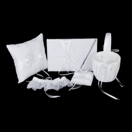 Wholesale Guest Basket - Wholesale- Ivory Double Heart Diamante Wedding Guest Book,Pen,Ring Pillow,Flower Basket,Garter Set