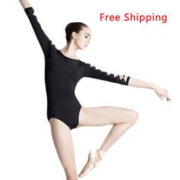 Wholesale Sexy Leotards - Wholesale-Cotton Spandex Backless Unitard Adult Girl Sexy Black 3 4 Long Sleeve Dance Practice Leotard Gymnastic Ballet Leotards For Women
