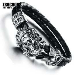 Wholesale Skull Bangle Bracelets Jewelry - Wholesale-2016 New Fashion jewelry Retro Punk Skull love Stainless Steel Black Genuine leather Personality Men Bracelet male Bangles