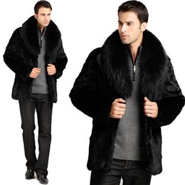 Wholesale Rabbit Fur Top Coat - ManyFurs Men's fur coat male genuine top rabbit fur men's fox fur collar jacket detachable collar black color