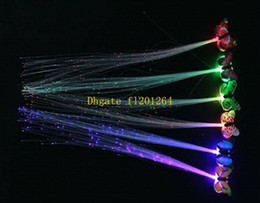 Wholesale Wholesale Fiber Optic Lighting Supply - 600pcs Free Shipping Butterfly LED Fiber Optic Lights up Flashing Hair Flash Barrettes Clip braids Party Christmas Supplies