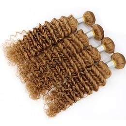 "Wholesale Brazilian Bundle Hair Very Cheap - Cheap Brazilian Deep Wave Hair 4 Bundles Lot,27# Honey Blonde Brazilian Hair 10""-30"" 100% Brazilian Hair Weave Bundles Very Soft"