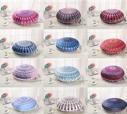 Wholesale Cushion Covers Round - Round Mandala Pillowcase Indian Ombre Floor Pillow Cover Bohemian Pillow Case Hippie Boho Throw Cushion Cover Vintage Car Decoration YW65