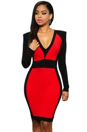 Wholesale Red Color Block Bodycon Dress - Autumn Winter Long Sleeve Color Block Dress Vintage Slim Fitted Tunic Work Wear Female Bodycon Zipper Back Dress Red White Black E22624