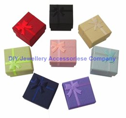 Wholesale paper sandwich box - 48Pcs Fashion Ribbon Jewelry Box Multi Colors Ring Boxes Earrings Pendant Box 4*4*3Display Packaging Gift Box