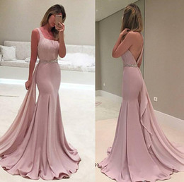 Wholesale Cheap One Strap Prom Dresses - Blush Pink Backless Arabic Evening Dresses One Shoulder Beaded Mermaid Prom Dresses Cheap Sexy Formal Evening Gowns