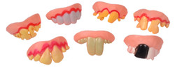 Wholesale Fake Vampire Teeth - Wholesale- 5P April Fool's Day party Funny punishment props Funny zombie vampire teeth teeth fool toys tricky Halloween funny fake Many +B