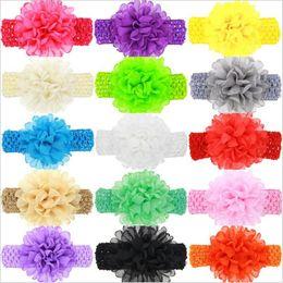 Wholesale Wide Crochet Elastic - Baby Girls Headband Big Chiffon Flowers Kids Children Bow Hair Accessories Wide Elastic crochet Hollow headbands newborn hairbands KHA176