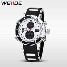 Wholesale Gold Weide - WEIDE Men Sports Watches Waterproof Military Quartz Digital Watch Alarm Stopwatch Dual Time Zones Brand New relogios masculinos