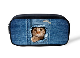 Wholesale Blue Jeans For Kids - Wholesale- Women Makeup Bags Travel Cosmetic Bag Organizer Jeans Denim Blue Make up Bags for Storage Animals Kids School Pencil Box Pouch