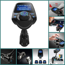 Wholesale Sd Card Car Stereos - 2016 Super Bluetooth Car Kit T10 Handsfree Set FM Transmitter MP3 Music Player 5V 2.1A USB Car charger Support Micro SD Card 1G-32G