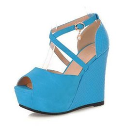 Wholesale Wedge T Strap Sandals - Wholesale-Ladies Wedge Sandals Sexy Peep Toe Cross Strap Platform High Heels Woman Summer Party Shoes New 2015
