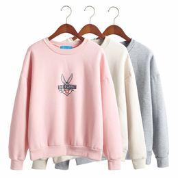 Wholesale Bugs Bunny Color - 2017 fall winter clothes korean sweatshirts women sweet wild Bugs Bunny cartoon printing thick fleece sweatshirt women harajuku