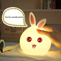 Wholesale Bunny Night Lights - Wholesale- USB Rechargeable Rabbit Shape Bunny Night Light Led Luminous Toys Children Bedside Table Lamp Silicone Night Lighting Kid Gift