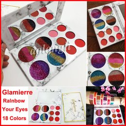 Wholesale Metallic Rainbow - Newest Makeup Glamierre Rainbow Your Eyes Glitter and Matte 18 Colors Eyeshadow Palette Eye Shadow Cosmetics Free Shipping