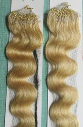 Wholesale Micro Ring Wavy Hair Extensions - 5A Grade Body Wavy 1g*200s 10-28'' Loop Micro Rings Prebonded Black Brown Blonde Mix Color 100% Indian Remy Human Hair Extensions