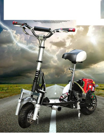 Wholesale Gas Scooter Motorcycle - Foldable 49CC four-stroke gasoline scooters Mini Motorcycle Gas powered Scooter Single motorcycle Front and rear disc brakes