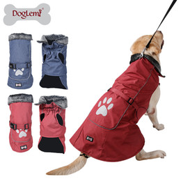 Wholesale Raincoat Dog Red - Free shipping! MOQ: 1PC, Cold Weather Fleece Lined Sports Dog Pet Vest Jacket with Reflective Lining and Paw