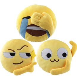 Wholesale Car Stuff - Emoji Plush Pillow 35*35CM Yellow Round Emoticon Expression Cushion Stuffed Toy Sofa Car Seat Funny Pillow 3 Styles OOA3125