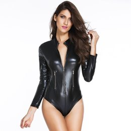 Wholesale Costume Fetish Sexy Leather - Women Black PVC Leather Long Sleeve Bodysuit Pole Dance Costume Hot Sexy Club Gothic Fetish Latex Costume with Front Zipper