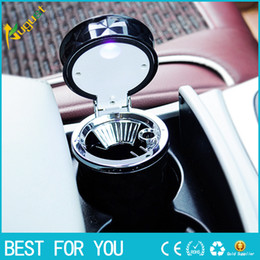 Wholesale Luxury Ashtrays - Hot sale Luxury Car Accessories Portable Aluminium LED Car Ashtray High Quality Universal Cylinder Holder Car Styling Mini carro cinzeiro