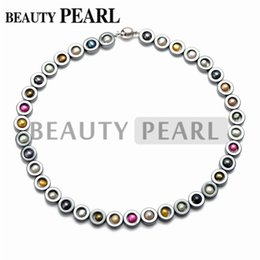 Wholesale Necklace Hematite - Multicolor Freshwater Pearl Necklace Black Hematite Beaded Chokers 18 Inch