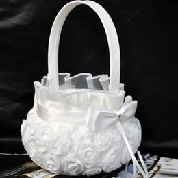 Wholesale Bowknot Case - White Wedding Ceremony Party Love Case Satin Bowknot & Rose Flower Girl Basket For Flower Plant Home Weddding Decoration