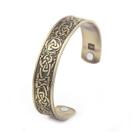 Wholesale Healthy Fashion - Healthy Magnetic Cuff Viking Norse Amulet Cuff Bangle Wristband Bracelet Fashion Jewelry For Men and Women