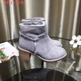 Wholesale Winter Female Boots - 2017 high top customization winter thick high heel plush warm snow boots genuine leather joker female boots