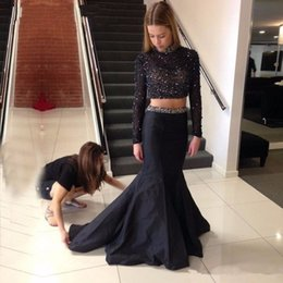 Wholesale High Neck Long Prom Dresses - Black 2 Piece Dresses Evening Wear Mermaid Long Sleeves High Neck Backless Prom Dresses Beaded Formal Party Gown