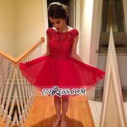 Wholesale Evening Dresses For Teens - 2016-2017 Popular Red Homecoming Dresses For Teens Graduations Lace Formal Prom Girl Party Gowns Beaded Dresses Evening Wear